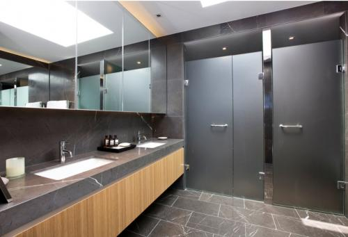 Modern washrooms with changing stations