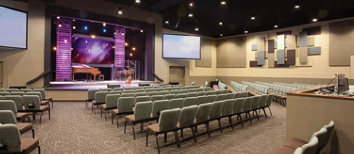 A 300 seat worship centre with large platform to accommodate our music ministry, choir and drama department